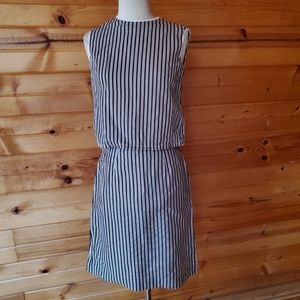 Vintage Unlabeled Brown & White Striped Skirt Set